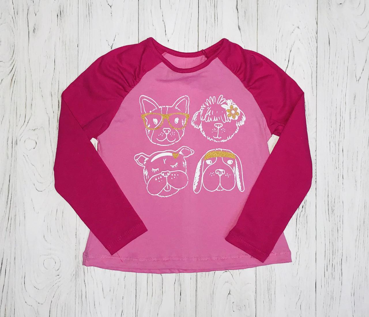 "Реглан для девочки ""Собачки"", розовый, рост 116"