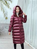 Женское пальто-пуховик теплое зимнее стеганое, бордовое матовый металлик , размеры XS,  S,  M,  L, XL, опт, фото 1