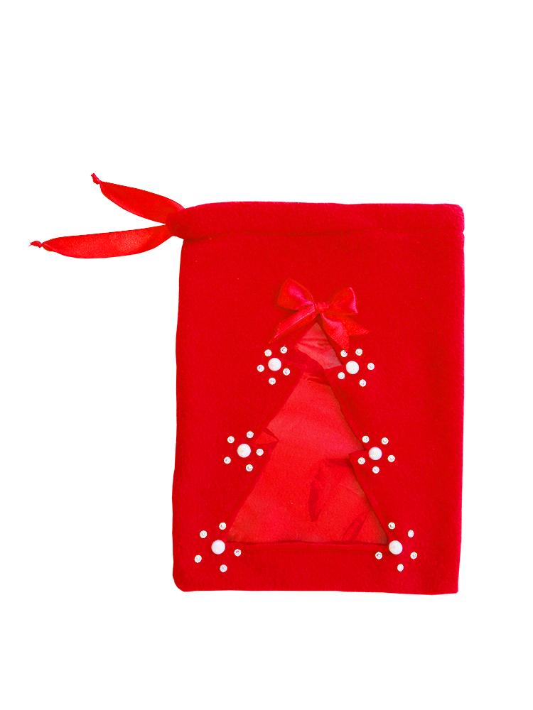Новорічний мішок для цукерок і подарунків, з прозорою ялинкою.