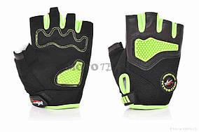 Перчатки вело  PRO BIKER  без пальцев, XL, зеленые