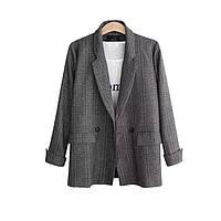 Пиджак женский классический в клеточку, серый, фото 1