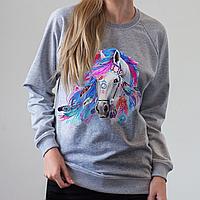 Серый женский свитшот, с лошадью, фото 1