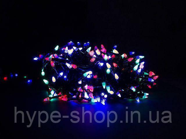 Гирлянда чёрный шнур 300 Led конусные лампочки, мультицвет