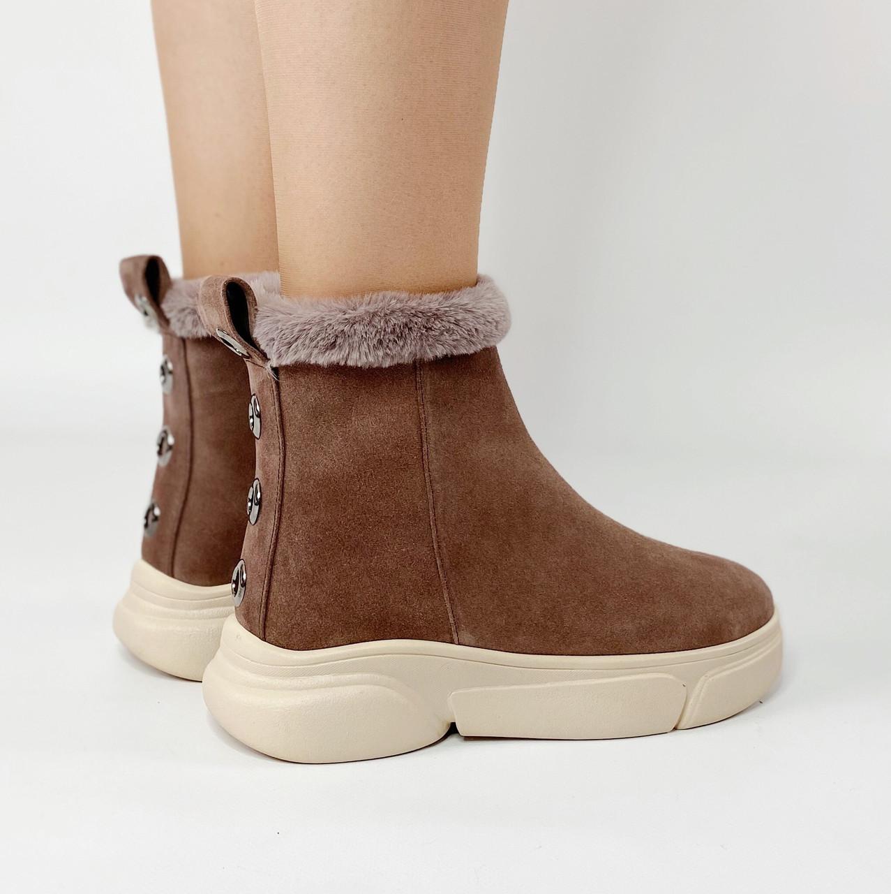Ботинки женские замшевые цвета кофе с опушкой MORENTO зимние