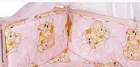 Защита бортики на 4 стороны (отдельные) на завязочках высота 40 см для детской кроватки 120*60см Розовая