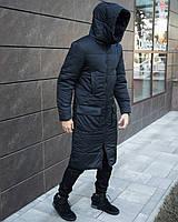 Чоловіча зимова темно синя подовжена куртка пальто