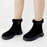 Ботинки женские замшевые чёрные с опушкой MORENTO зимние