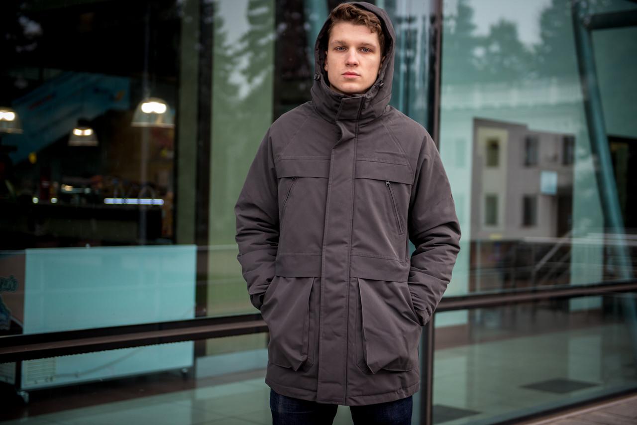 Мужская серая зимняя куртка парка с капюшоном