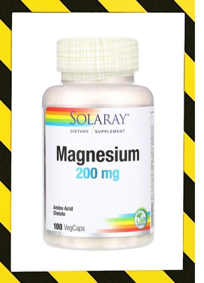 Solaray, Магний Хелатный (в виде аминокислотного хелатного комплекса магния) 200 мг, 100 веганкапсул