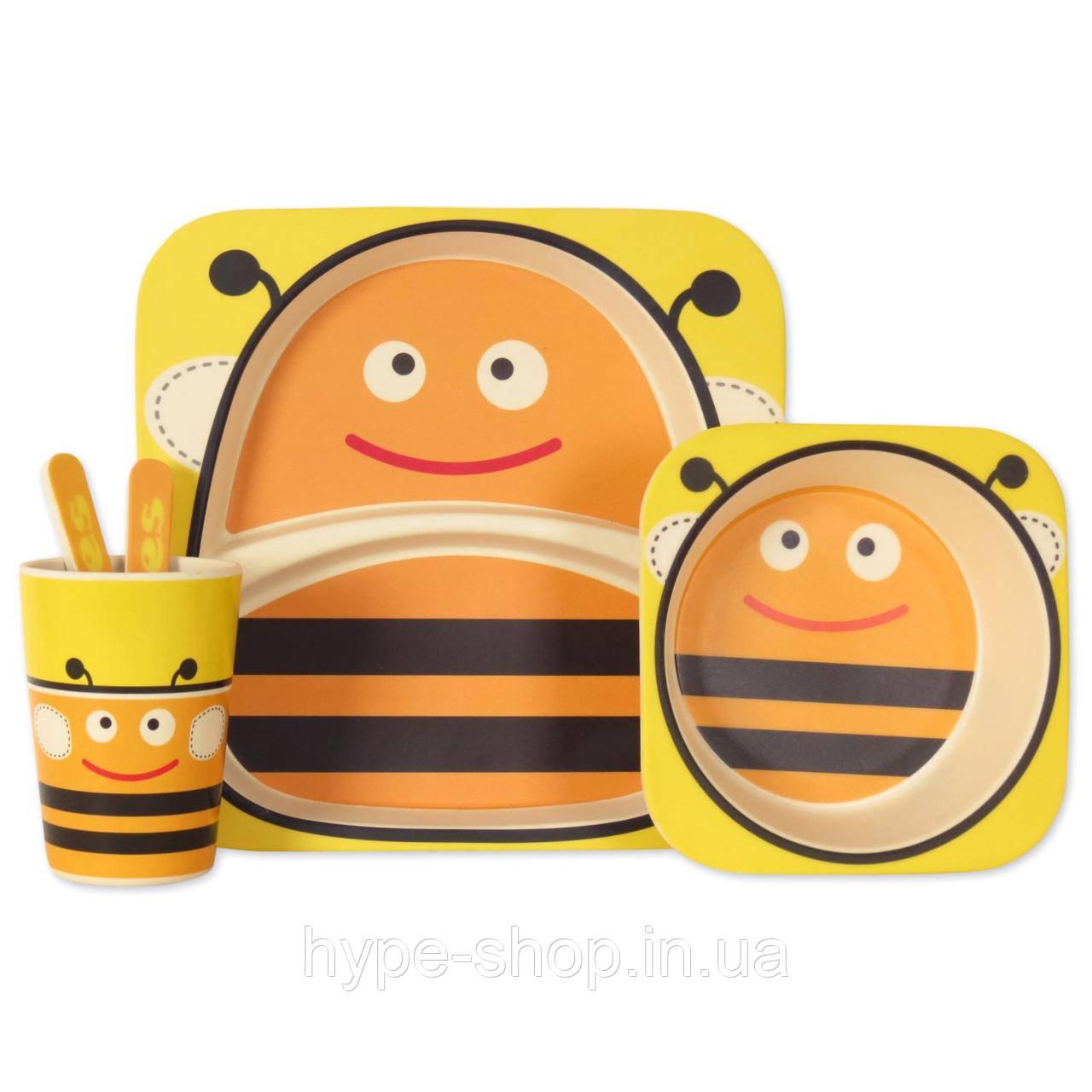 Набор детской посуды из бамбука  Пчелка (5 предметов)