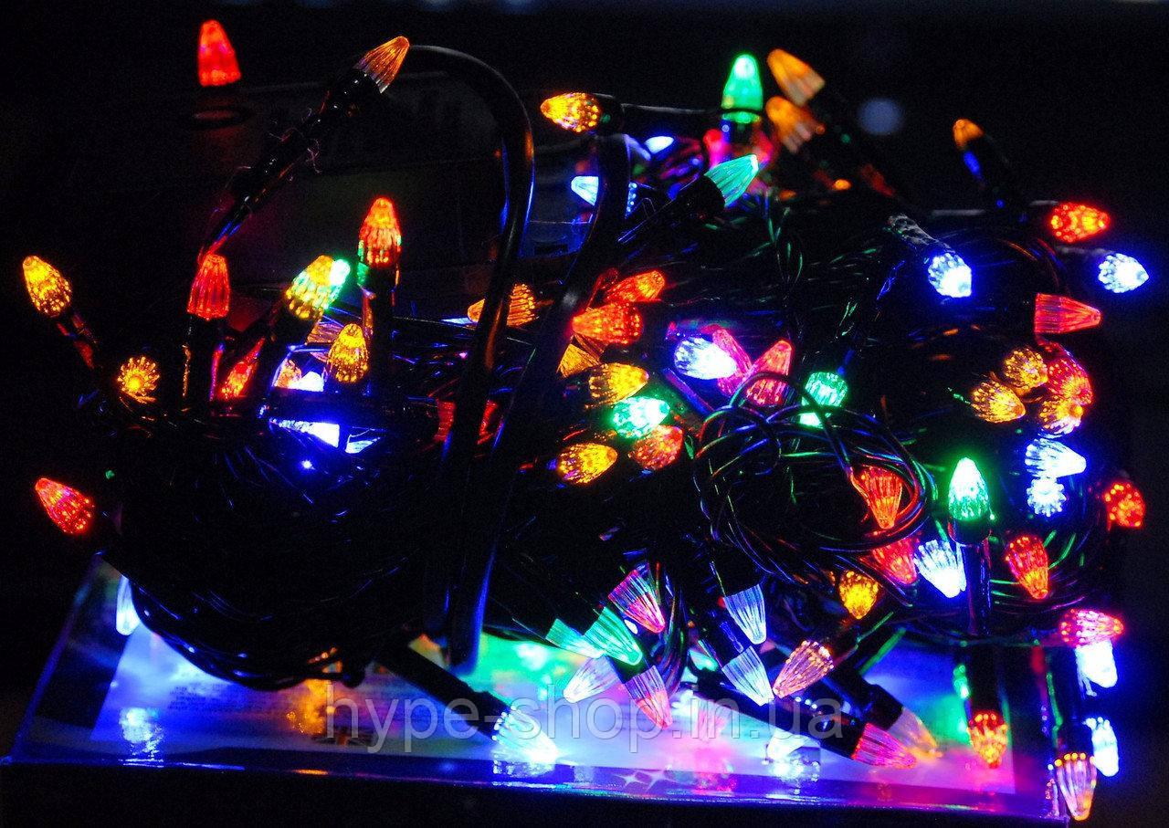 Гирлянда чёрный шнур 200 Led конусные лампочки, мультицвет