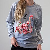 Серый женский свитшот, с фламинго, фото 1