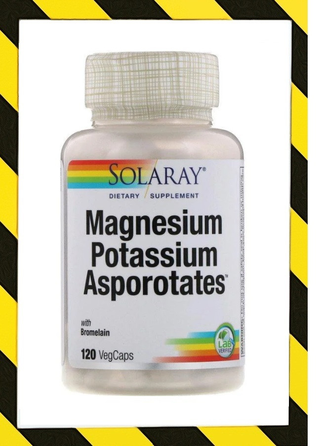 Solaray, Магний Калий Magnesium Potassium, аспартат магния и калия, 120 растительных капсул