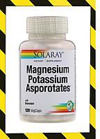 Solaray, Магний Калий Magnesium Potassium, аспартат магния и калия, 120 растительных капсул, фото 1