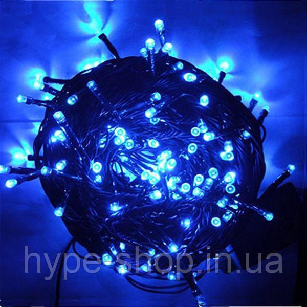 Гирлянда черный шнур хрусталь 200 LED  синяя