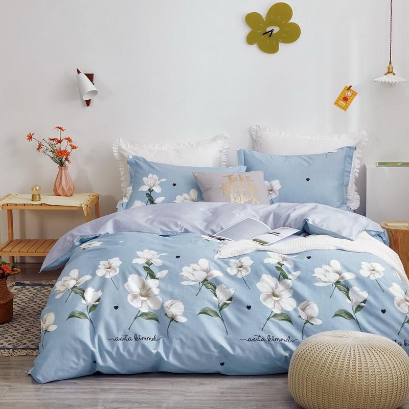 Комплект постільної білизни Bella Villa сатин Євро блакитний