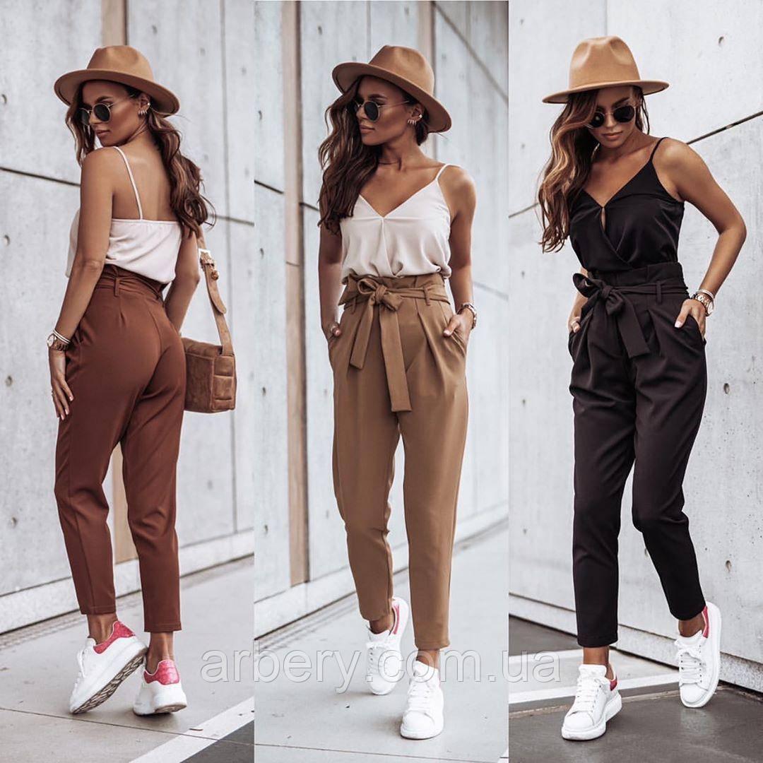 Женские стильные брюки с высокой посадкой