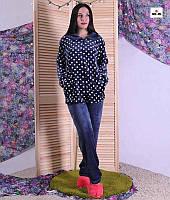 Махрова жіноча піжама в горох батальна синя 48-56р.