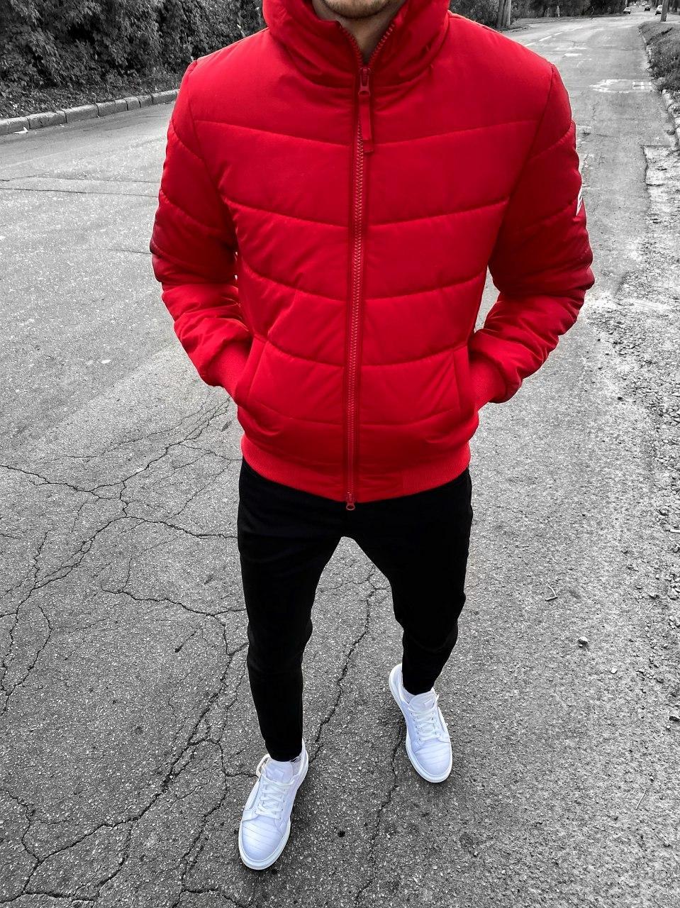 😜 Куртка - Мужскаяя красная куртка на молнииc с капюшоном