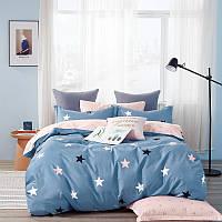Комплект постельного белья Bella Villa сатин Евро синий со звездами