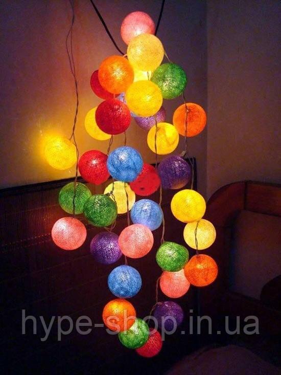 Гирлянда шарики 10 шт паутина,хлопок,цветные на батарейках (Тайские шарики)