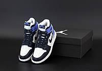 Женские зимние кроссовки Nike Air Jordan 1 Retro с мехом в стиле Найк Джордан 1 синие высокие