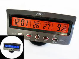 Часы автомобильные с термометром и вольтметром VST 7045V