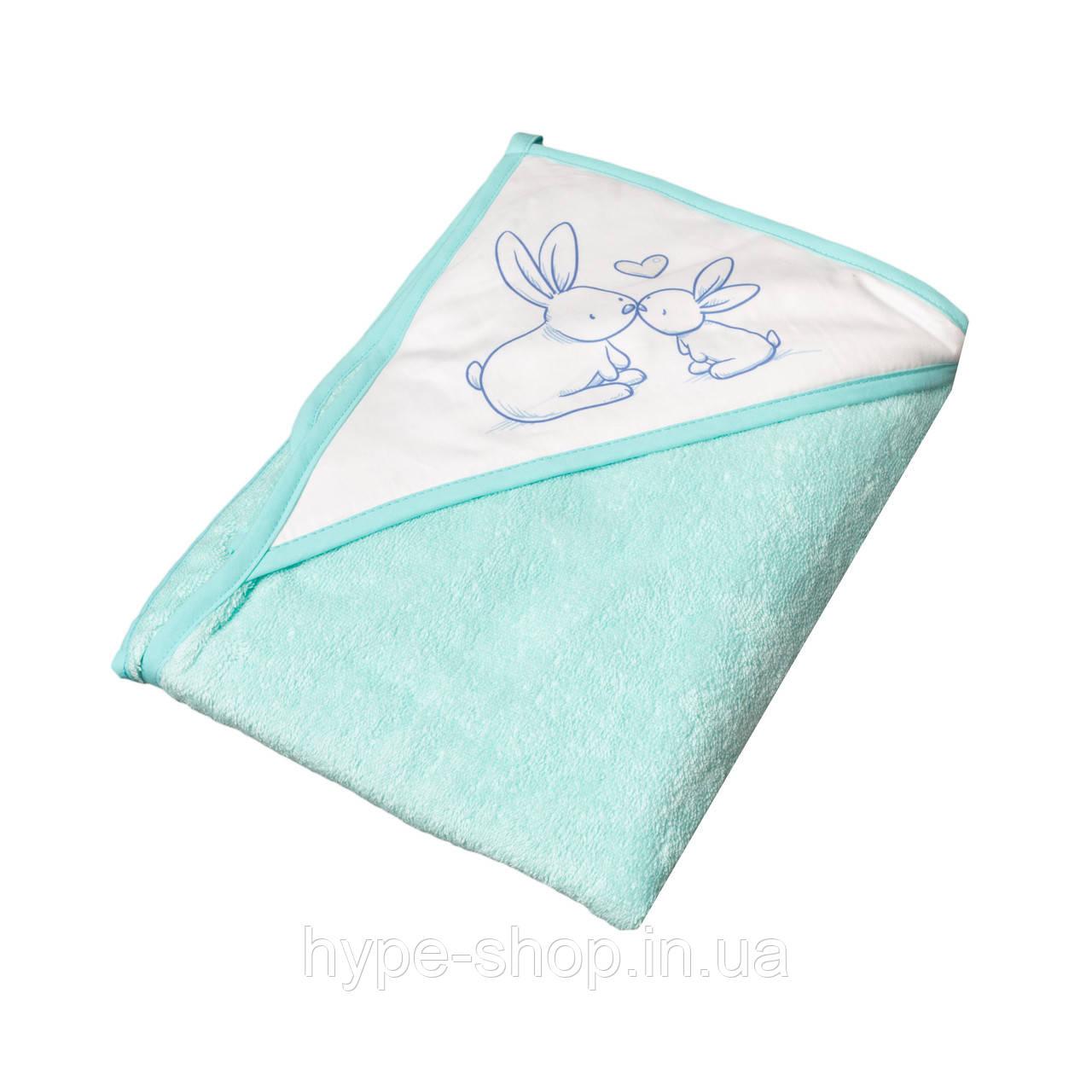 Полотенце с капюшоном КРОЛИКИ 100*100 см Tega Baby Бирюзовый