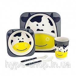 Набор детской посуды из бамбука Коровка (5 предметов)