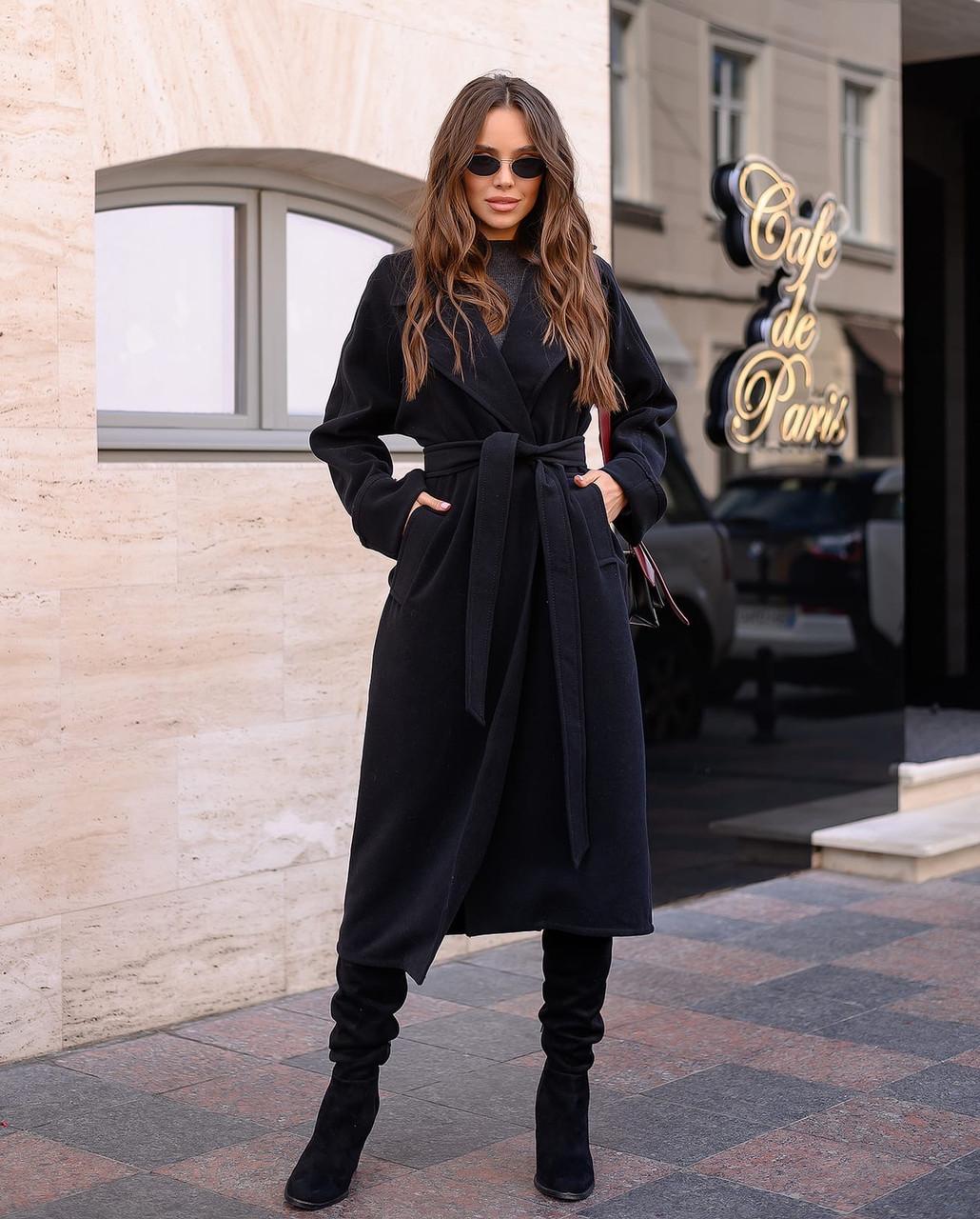 """Пальто-халат с поясом и отложным воротником """"Кейт"""". Разные цвета.  (6119)"""