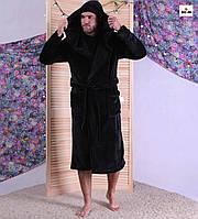 Чоловічий халат махровий теплий з капюшоном однотонний чорний 44-60р.