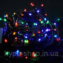 Гирлянда чёрный шнур 100 Led круглые лампочки мультицвет