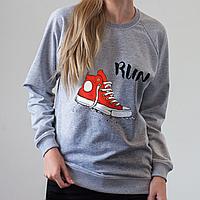Серый женский свитшот, Run, фото 1