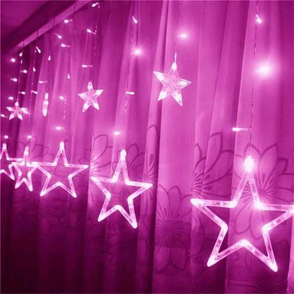 Гирлянда штора на окно занавеска звездочки светодиодная 3 м, розовый, от сети, фото 2
