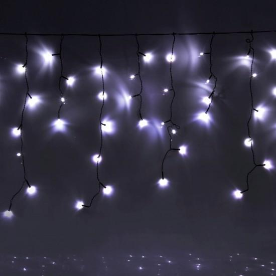 Уличная гирлянда бахрома белый 3 м, 100 LED, с переходником, черный провод