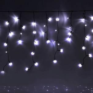 Уличная гирлянда бахрома белый 3 м, 100 LED, с переходником, черный провод, фото 2