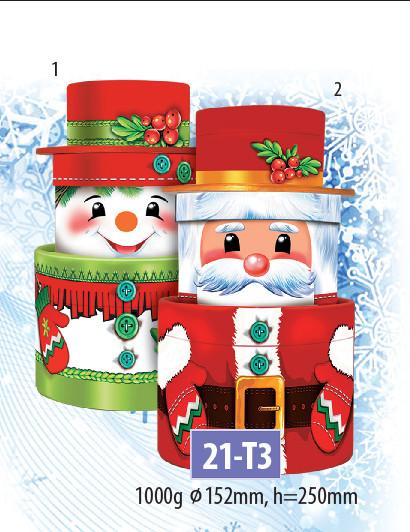 Новогодний подарочный тубус для конфет и сладостей 1000гр №21-Т3 20шт/ящ КД.