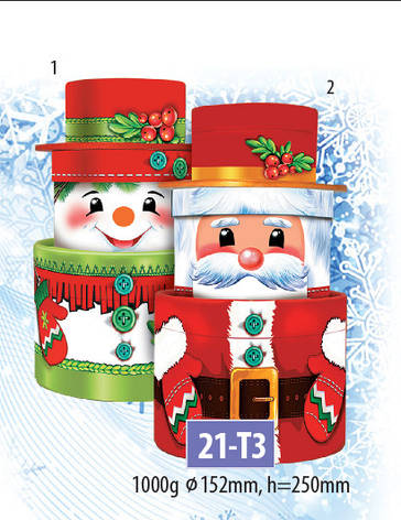 Новогодний подарочный тубус для конфет и сладостей 1000гр №21-Т3 20шт/ящ КД., фото 2