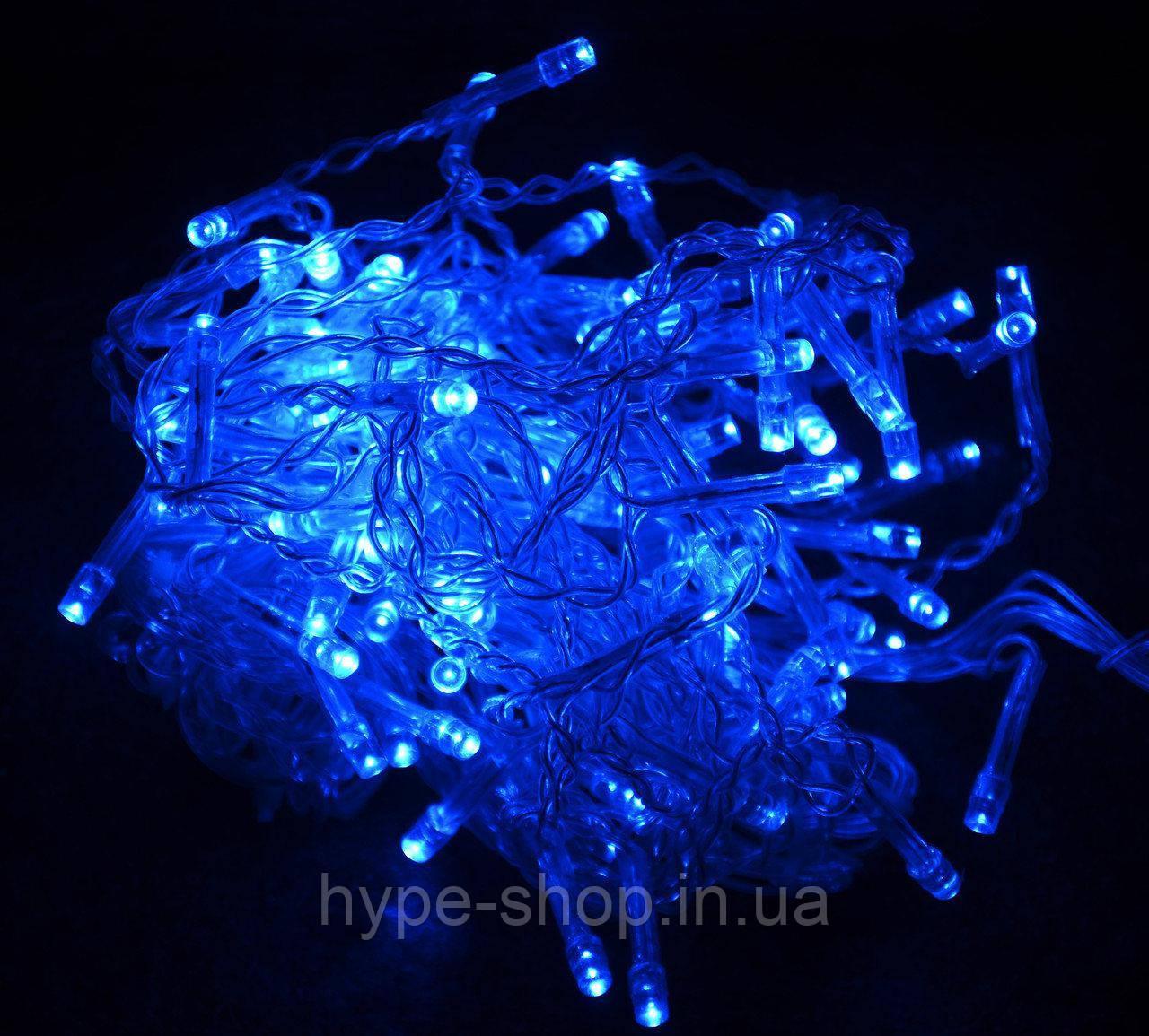 Гирлянда прозрачный шнур 300 Led,синяя