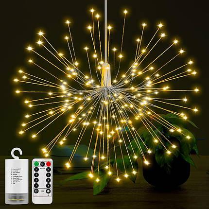 Светодиодный светильник LED золото водонепроницаемый, на батарейках АА, медный провод, фото 2