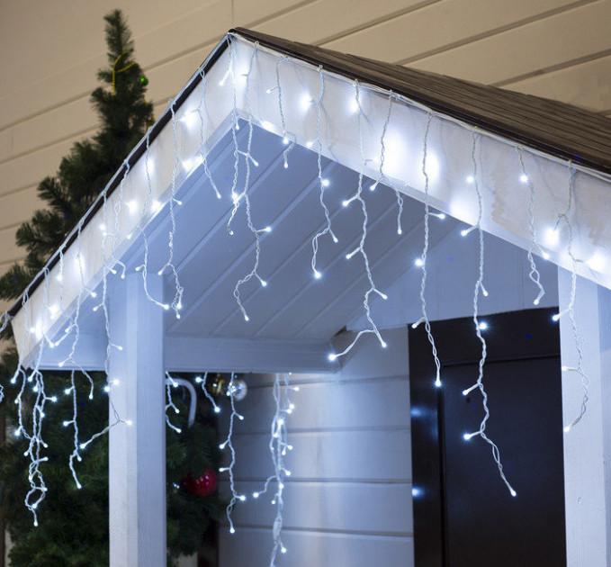 Уличная гирлянда бахрома белый 3 м, 100 LED, с переходником, белый провод