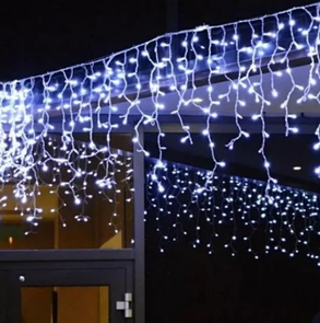 Уличная гирлянда бахрома белый 3 м, 100 LED, с переходником, белый провод, фото 2