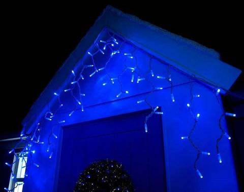 Уличная гирлянда бахрома синий 3 м, 100 LED, с переходником, белый провод