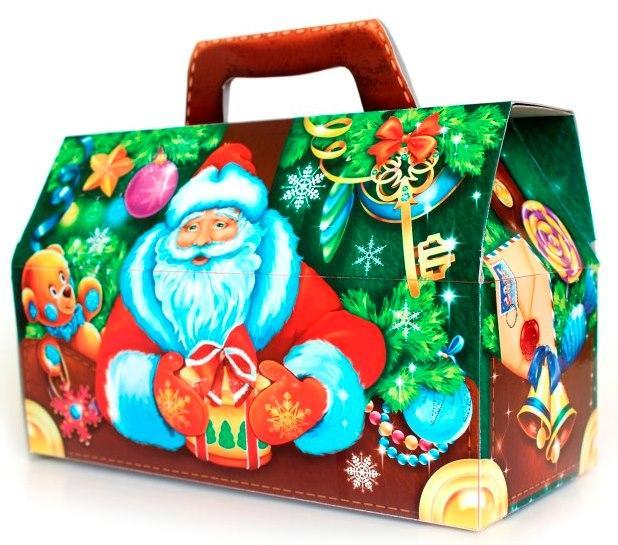 Новогодняя подарочная коробочка для конфет и сладостей 1000гр №46 100шт/уп