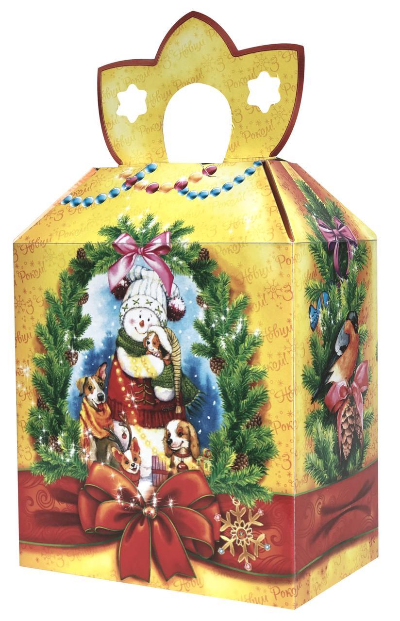Новогодняя подарочная коробочка для конфет и сладостей 400-600гр №40 100шт/уп
