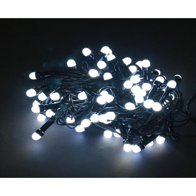 Гирлянда круглые лампы чёрный шнур 500 Led белый, от сети