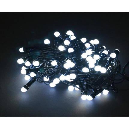 Гирлянда круглые лампы чёрный шнур 500 Led белый, от сети, фото 2