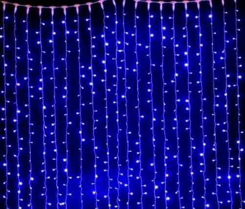 Светодиодная гирлянда штора синий, 3*3 м, 320 LED, с переходником