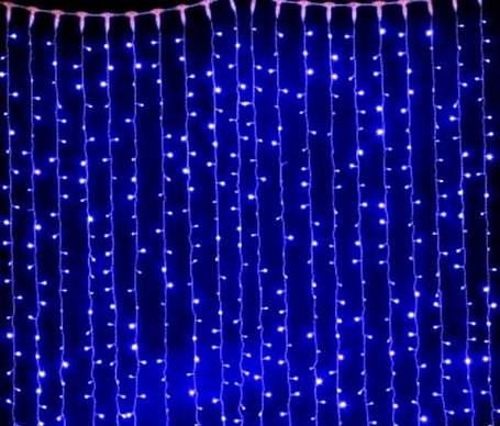 Светодиодная гирлянда штора синий, 3*3 м, 320 LED, с переходником, фото 2