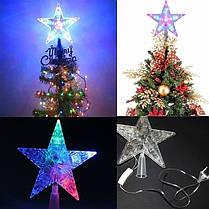 Верхушка-наконечник на елку звезда светодиодная (22см), от сети, фото 3